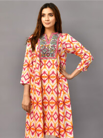 Pink Embroidered Lawn Stitched Shirtfor Women