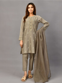 Grey Embroidered Lawn Stitched 3pcs Suitfor Women