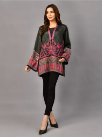 Black Print Silk StitchShort Kurti for Women