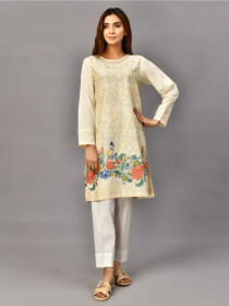Off White Embroidered Lawn Stitched 2pcs Suitfor Women