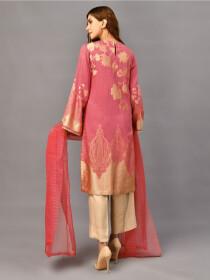 Dark Pink Embellished Jacquard Stitched 2pcs Suitfor Women