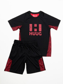 Boys' Black & Burgundy Outfits Short Sleeve Tee And Short Pants