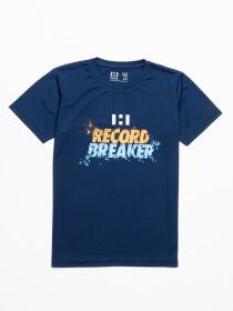 Boys' Navy Blue Record Breaker Short Sleeve T-Shirt Crew Neck