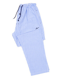 Blue & White LiningCotton Relaxed Pajama with zipper side pockets