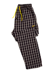 Black & Beige Multi Check Cotton Relaxed Pajama with zipper side pockets