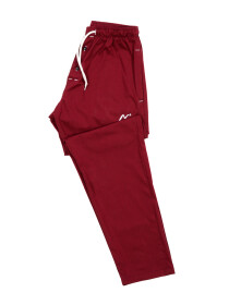 Burgundy Lining Cotton Relaxed Pajama with zipper side pockets