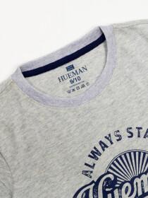 Boys' Grey Short Sleeve T-Shirt Crew Neck