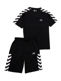 Men Black & White Outfits Short Sleeve Tee And Short Pants