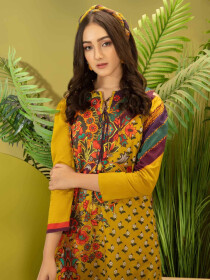 Yellow Printed Cambric Unstitched 2 Piece Suit for Women