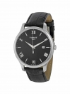 Tradition gents watch black dial with black leather strap