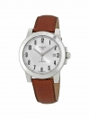 Gentlemen Swissmatic watch silver dial with brown leather strap