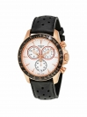 V8 Automatic Chronograph watch silver dial with black leather strap