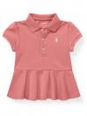 Cotton Piqué Peplum Polo Shirt