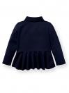 Cotton Mesh Peplum Polo Shirt - Full Sleeve
