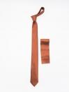 Brown Plain Slim Microfiber Polyester Tie