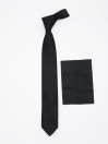 Black Self Textured Reg Tie