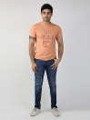 Orange Printed Round Neck T-Shirt