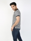 Black & Gray Striped Polo Collar T-shirt