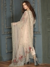Peach Embroidered Net 3 piece Suit