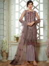 Grey Embroidered Net 3 piece Suit