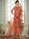 Coral Embroidered Net 3 Piece Suit