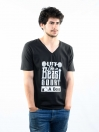 Black Printed Slim Fit V-Neck T-Shirt