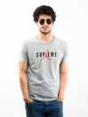 Grey Printed Slim Fit Round Neck T-Shirt