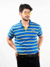 Blue & Yellow Striped Slim Fit Polo Collar T-Shirt