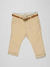 Off White Solid Baby Girl Pants