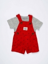 Red & Grey Newborn Baby Boy 2 Piece Dungaree