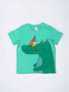 Teel Green Printed Round Neck Baby Boy T-Shirt