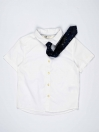 White Solid Baby Boy Casual Shirt with Blue Tie
