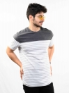 Charcoal & White Striped Round Neck T-Shirt for Men