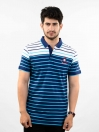 White, Ferozi & Navy Striped Slim Fit Polo Collar T-Shirt