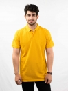 Yellow Solid Cotton Slim Fit Polo Collar T-Shirt