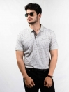 Grey & Brown Printed Slim Fit Polo Collar T-Shirt