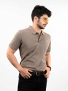 Light Brown Cotton Slim Fit Polo Collar T-Shirt