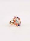 Elegant Stylish Multicolour Flower Gold Plated Ring
