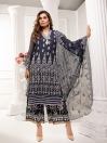 Navy Blue Embroidered Chiffon 3 Piece Unstitched Suit