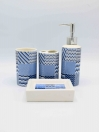 Bathroom Set Blue Line Design 4Pcs Set