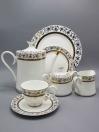 24 Pcs Gold and White Tea Set