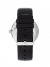 Highnoon Quartz Silver Dial Black Leather Strap Men's Watch