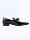 Black Cow Leather Slip-Ons for Men