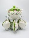 Luxury Soup Set Multi Color Ceramics 22Pcs with Metal Stand
