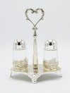 Salt and Pepper Set Silver Color with Stand