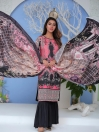 Pink Digital Printed and Embroidered Linen Unstitched 3 Piece Suit