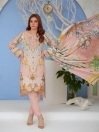 Light Pink Digital Printed and Embroidered Linen Unstitched 3 Piece Suit