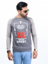 Dark Grey Printed Round Neck T-Shirt