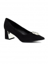 Black Flare Heel Pumps