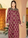 Plum Printed Slub Khaddar Shirt
